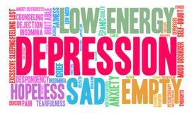 Depresji słowa chmura ilustracja wektor