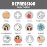 Depresji traktowania ikony obrazy stock