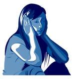 Depressão da mulher, abuso, batida, menina, violência contra mulheres, amor ilustração stock