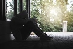 Depressão, isolamento social, solidão e saúde mental foto de stock royalty free