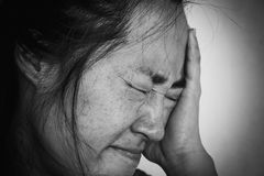 Depress and fear woman. In white tone Stock Photo