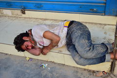 Depress man sleep after earthquake disaster Royalty Free Stock Photos