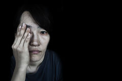 Depress woman with tear Royalty Free Stock Image