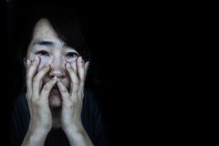 Depress woman with tear Stock Image