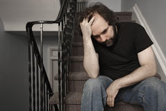 Depressed adult male Stock Photo