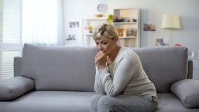Free Depressed Aged Woman Sitting Alone At Home, Difficult Time, Breakup Sorrow Stock Photo - 153662450