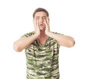 Depressed and anxious man on white background Stock Photos