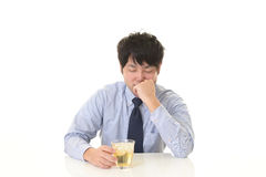 Depressed Asian businessman. Tired and stressed Asian businessman stock photos