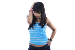 Depressed asian woman royalty free stock photography