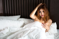 Depressed asian women. Depressed asian woman in bed Stock Photos