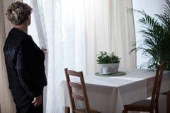 Depressed bereaved female yearning husband Stock Photos