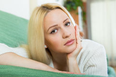 Depressed  blonde woman Stock Photography
