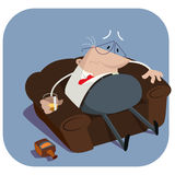 Depressed boss with a glass of alcohol Stock Images
