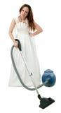 Depressed bride with vacuum cleaner Stock Photos