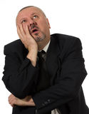 Depressed business man. Isolated on white background Stock Photography