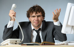 Depressed businessman. Horizontal image of depressed businessman Royalty Free Stock Photography