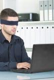 Depressed businessman. With dark blindfolded stock photos