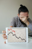 Depressed businessman leaning head below bad stock market chart Royalty Free Stock Images