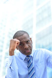 Depressed businessman at outdoors Royalty Free Stock Photos