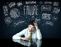 Depressed businessman sitting under trouble thought boxes Stock Photo