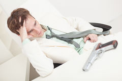Depressed businessman to prepare for kill oneself Stock Photo