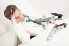 Depressed businessman to prepare for kill oneself Stock Photo