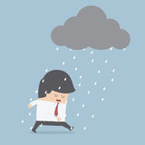 Depressed businessman walking in the rain Royalty Free Stock Photos