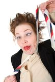 Depressed businesswoman strangle suicide self tie. Royalty Free Stock Photos
