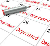 Depressed Calendar Means Discouraged Stock Photos