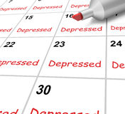 Depressed Calendar Means Down Despondent Or Royalty Free Stock Images