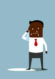 Depressed cartoon black businessman crying Stock Image