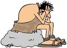 Depressed caveman. Illustration depicting a depressed caveman sitting on a large boulder with his head in his hands Stock Photography