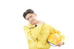 A depressed construction worker   Royalty Free Stock Photos