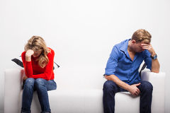 Depressed couple having problems Royalty Free Stock Photos