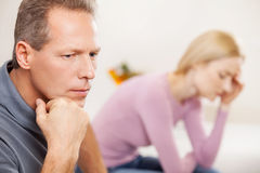 Depressed couple. Royalty Free Stock Photos