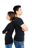 Depressed couple standing back to back royalty free stock photo
