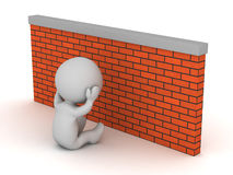 Depressed 3D Character with Brick Wall Royalty Free Stock Photos