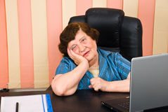 Depressed elderly business woman royalty free stock images