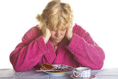 Depressed elderly woman Stock Photo