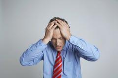 Depressed Entrepreneur Isolated Over Grey Background Royalty Free Stock Image