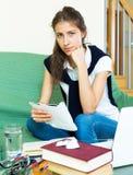 Depressed female college student Stock Images