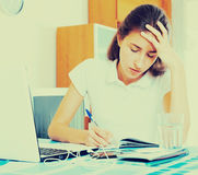 Depressed female college student. Tired female college student study sitting at a table at home Royalty Free Stock Photography