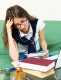 Depressed female college student Stock Images