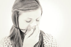Depressed female patient with a mask Stock Images