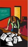Depressed Female School Teacher Classroom Woodcut Stock Photos