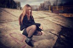 Depressed girl . Royalty Free Stock Image