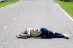 Depressed Girl Sleep on the Road royalty free stock photography