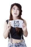 Depressed girl victim human trade Stock Photo