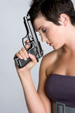 Depressed Gun Woman Royalty Free Stock Image