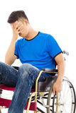 Depressed and handicapped man sitting on a wheelchair Royalty Free Stock Images